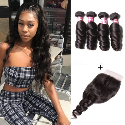 8A Grade Malaysian Loose Wave 4 Bundles with 4*4 Lace Closure-Klaiyi Hair