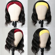 Klaiyi Short BOB Wig Body Wave Headband Scarf Wig Glueless None Lace Front Wig 150% Density