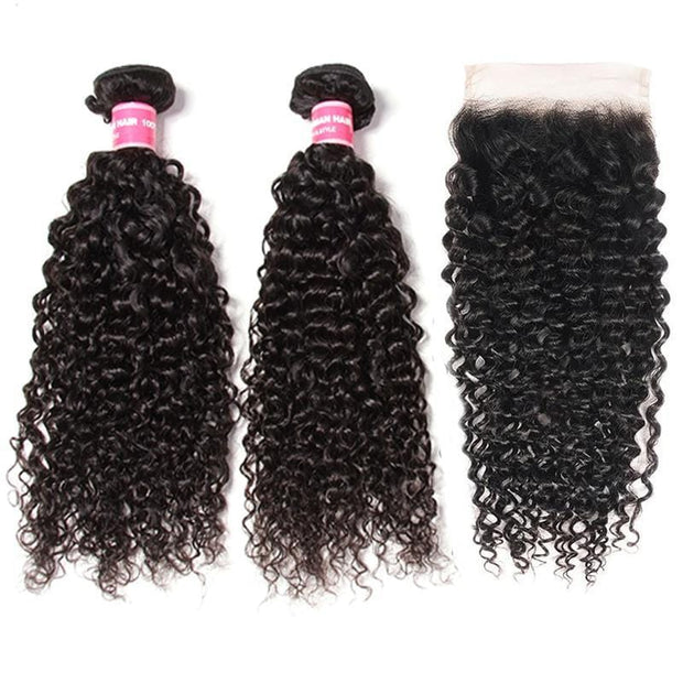 Klaiyi Hair Curly Hair 4x4 Lace Closure Wigs Virgin Human Hair Wig 200% Density