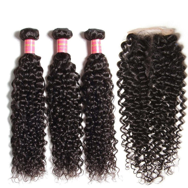 Klaiyi 3 Bundles Indian Jerry Curly Human Hair Bundles With 4*4 Lace Closure