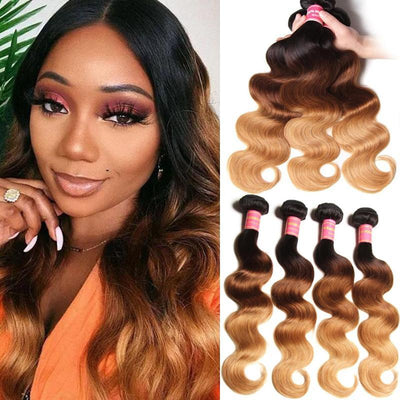 Klaiyi 3 Tone Brazilian Ombre Body Wave Human Hair 3/4 Bundles Weave 1b/4/27 Color