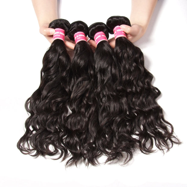 Brazilian Virgin Hair Natural Wave 4 Bundles Human Hair Weaves