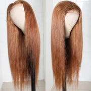 Flash Sale For Trendiest Ginger Brown 8# Colored 4x4 Lace Part Human Hair Wigs Low to $115