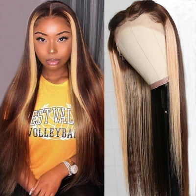 Klaiyi 13 by 4 Lace Front Wigs Highlight Chocolate Brown D427# Colored Wigs Pre Plucked Straight Human Hair Wigs