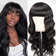 Klaiyi 9A Brazilian Body Wave Human Hair Wig With Free Part Bangs Machine Made Gluless Breathable Wig Supper Affordable