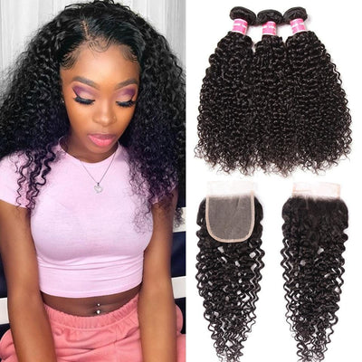 Klaiyi Hair 8A Virgin Curly Hair with 4x4 Invisible Lace Closure Free Part Pre Plucked for Black Women