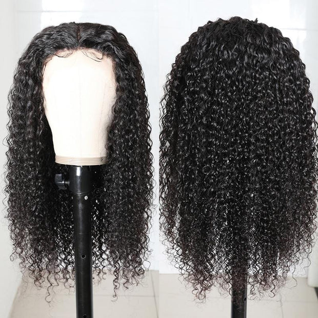 Klaiyi 13x5x0.5 TPart Unprocessed Hand Tied Lace Part Wig Jerry Curly Middle Part Lace Front Human Hair Wigs