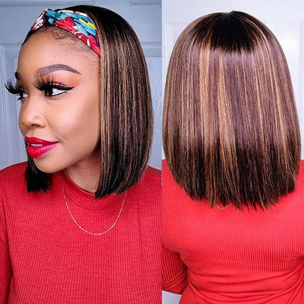 Klaiyi Honey Blonde Highlight Short BOB Headband Wig 1BTL412 Straight Hair Wig 150% Density Glueless None Lace Front Wig