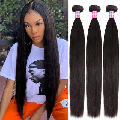 Klaiyi 3pcs/pack Virgin Indian Straight Weave 100% Human Hair Extension Natural Color