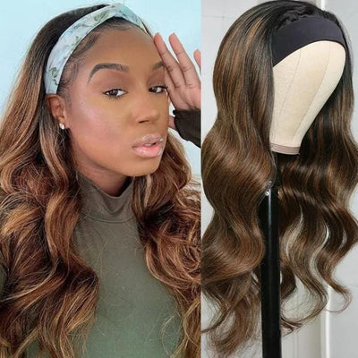 Klaiyi Ombre Dark Roots Blonde Highlight Headband Wig Body Wave Glueless Human Hair Wigs 150% Density