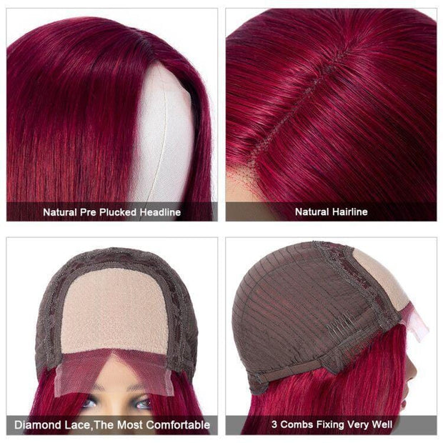 Klaiyi Burgundy Color Staright Hair Lace Part Wig Fake Scalp Wig 150% Density For Sale