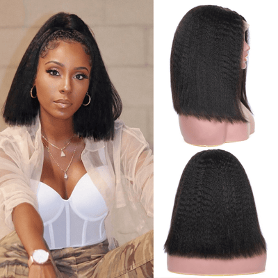 Klaiyi 9A Kinky Straight Short Bob Wigs Free Part Brazilian Straight Hair Yaki Straight Lace Front Bob Wigs 130% & 150% Density