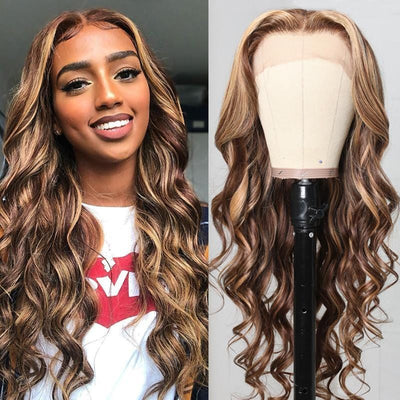 Klaiyi Honey Blonde Highlight Body Wave Human Hair Wigs Ombre Color 13x4 Lace Front Wigs 150% Density