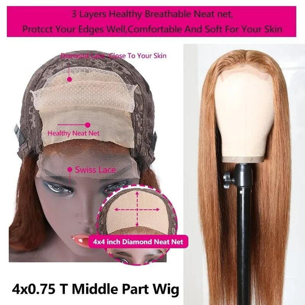 Klaiyi Trendiest Highlight Ginger Brown 8# Color Long Straight Hand Tied Lace Part Wig Virgin Human Hair Wigs