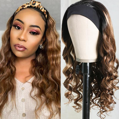 Flash Sale For Blonde Highlight Body Wave Headband Wig Ombre 1B/TL412 Color Glueless Wear and Go Wig 150% Density