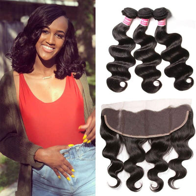 Klaiyi Peruvian Body Wave 3 Bundles with Ear To Ear Lace Frontal Closure