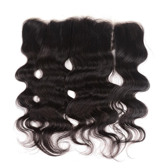 Klaiyi Hair 8A Grade Brazilian Body Wave Frontal 13*4 Ear to Ear Transparent Swiss Lace Frontal Closure