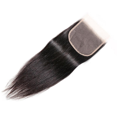 Klaiyi 4 by 4 Swiss Lace Closure 100% Human Hair Straight Lace Closure