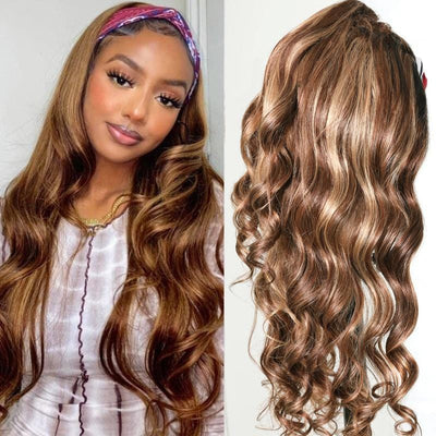 Blonde Highlight Body Wave Headband Wig Ombre 1B/TL412 Color Easy Wear & Go Wig Flash Sale