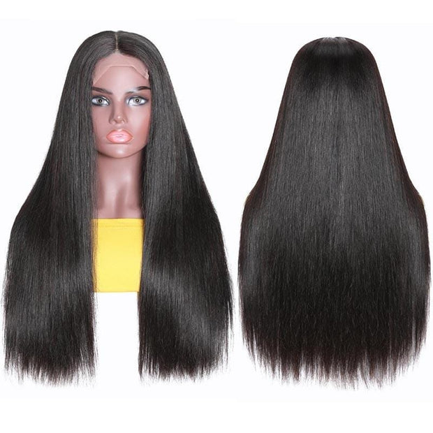 Klaiyi Fake Scalp Wig Straight Human Hair Lace Part Wig Preplucked Natural Hairline 150% Density