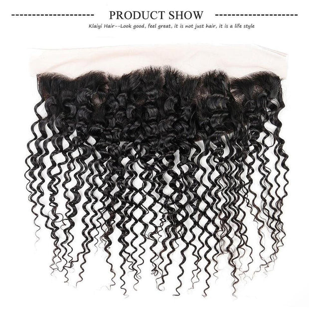 8A 4 Bundles Indian Curly Hair with Ear to Ear Lace Frontal Closure-Klaiyi Hair