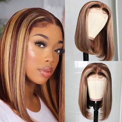 Klaiyi Highlight Straight Bob 4 by 4 Hand Tied Lace Part Wig Ombre Color 14inch Human Hair Wigs