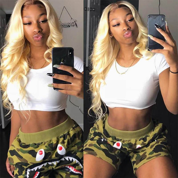 613 Blonde Body Wave Human Hair 3 Bundles with 13*4 Lace Frontal Closure