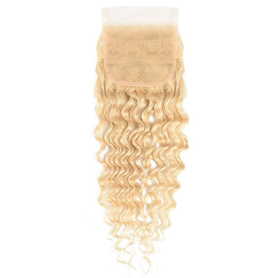 Klaiyi Hair 9A Virgin Blonde Deep Wave Lace Closure 4x4 Free Part 613 Color Curly Closure