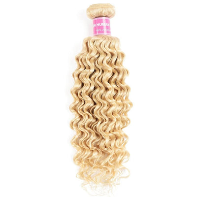 Klaiyi Hair 9A Brazilian Virgin 613 Deep Wave One Bundle Blonde Curly Hair No Shedding