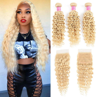 Klaiyi Hair 9A Grade 613 Deep Wave Bundles with Closure Free Part Blonde Color Virgin Human Hair