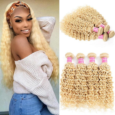 Klaiyi Hair 8A Blonde Deep Wave 4 Bundles 613 Color Curly Hair Weave Virgin Human Hair