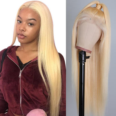 Klaiyi Hair 10A Grade 613 Straight 360 Lace Wigs Blonde Color Human Hair Invisible Lace Front Wigs with Baby Hair
