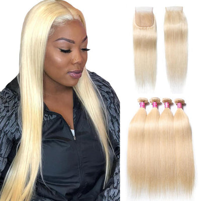 613 Blonde Straight Hair 3 Bundles with 4*4 Lace Closure on Deals, 100% Human Hair Bundles