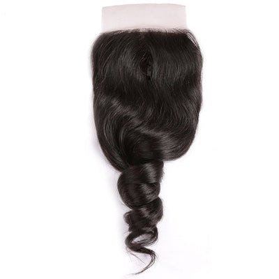 Klaiyi Loose Wave 4*4  Lace Closure 1Pack Human Virgin Hair Extensions Natural Color