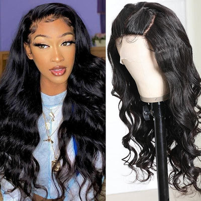 Klaiyi Body Wave Human Hair Wigs Three Part Lace Wig 150% Density Hand tied Lace Part with Realistic Baby Hair