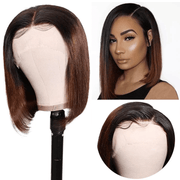 Preplucked T1b/4 Ombre Color Brazilian Straight Short Bob Wigs Ombre Lace Front Human Hair Wigs 150% Density