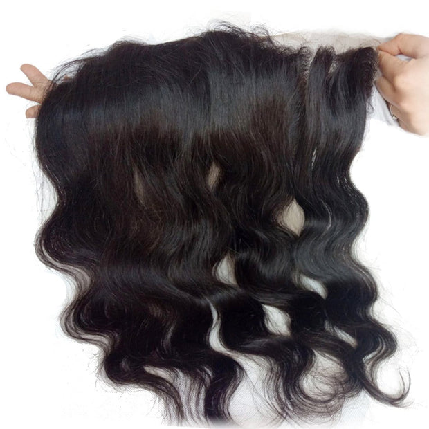 Peruvian Body Wave Virgin Hair 4 Bundles with Frontal Closure Natural Color