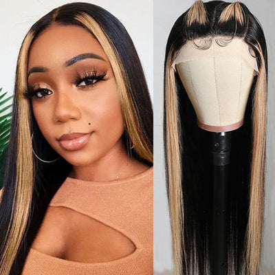 Klaiyi Gorgeous Highlight Ombre TL27 Straight Human Hair Wigs Three Part Lace Closure Wigs 150% Density