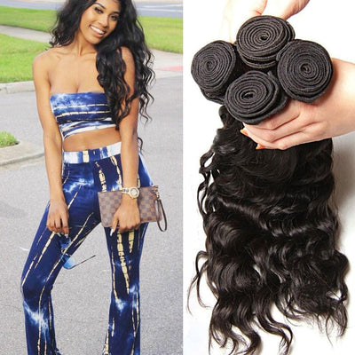 Klaiyi Brazilian Natural Wave Virgin Human Hair Weave Extensions 3pcs/Pack