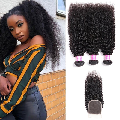 Peruvian Kinky Curly Hair 3 Bundles with 4*4 Lace Closure On Sale