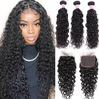 Klaiyi Brazilian Water Wave Human Hair 3 Bundles Deal with 4x4 Swiss Lace Closure