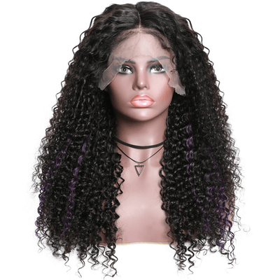 Klaiyi 9A Highlight Purple Color Curly Lace Front Wigs High Density Ombre Jerry Curl Human Hair Wigs For Women