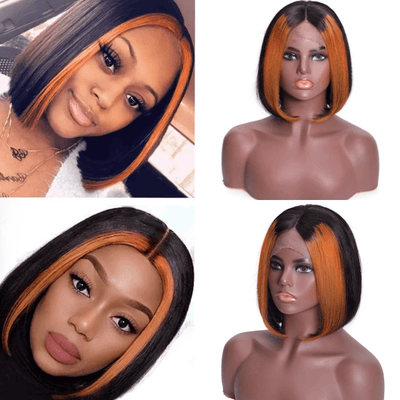 Klaiyi 9A 13x4 Lace Front Human Hair Wigs Ombre Color Brazilian Straight Frontal Wigs 150% Density TL30 Color Short Bob Wigs With Highlights