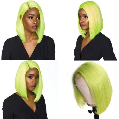 Klaiyi Hair 9A Lime Green Straight Bob Wig 13*4 Lace Frontal Short Bob Wig, 100% Virigin Human Hair Wig