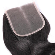 Klaiyi Body Wave Hair 4x4 Lace Closure, 1PCS Brazilian/ Malaysian/ Peruvian 100% Human Virgin Hair Lace Closure, Natural Color