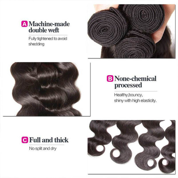 Klaiyi 4 Bundles Brazilian Body Wave Virgin Hair Deals