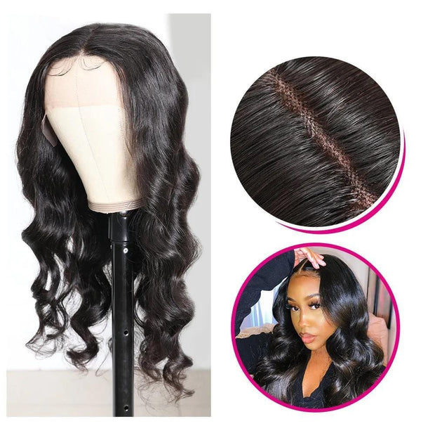 Klaiyi Hair Body Wave Lace Wigs Pre-plucked Natural Hairline Hand Tied Lace Part Wig With Baby Hair