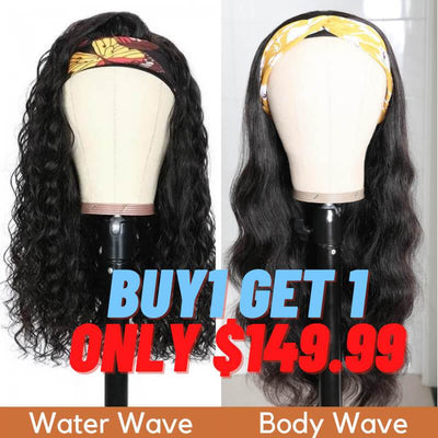 Flash Sale: Buy 1 Get 1 Free Headband Wigs Water Wave And Body Wave Headband Wig Bulk Sale With Gifts