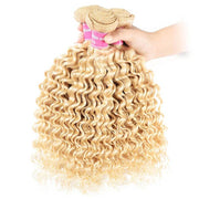Klaiyi Hair 9A Blonde Deep Wave 3 Bundles 613 Color Curly Human Hair Weave Double Stitched