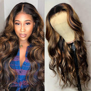 Klaiyi Dark Roots Highlight Bronde 13x4 Lace Front Wigs #1b/30 Balayage Blonde Body Wave Human Hair Wigs